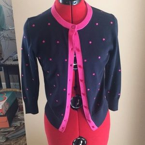 Crown and Ivy navy sweater with pink polka dots.